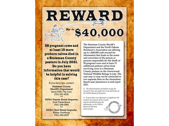 Le département du shérif du comté de Stutsman et la Stockmen's Association annoncent une récompense dans un cas de mort de bétail à grande échelle
